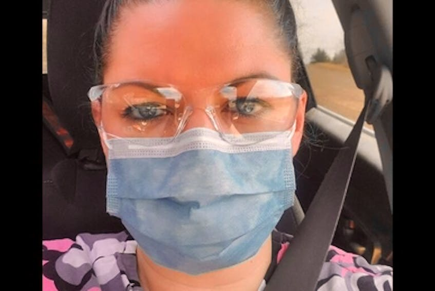 Days before her death, Kristen Beaton, pictured, shared a selfie wearing a mask and protective goggles to spread awareness of the sacrifice of frontline workers during the COVID-19 pandemic.