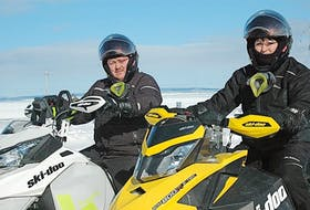 Sheldon and Mandy Gaulton were two of 123 riders to take part in the annual Janeway snowmobile ride held in Sandy Cove in 2017. FILE/THE NORTHERN PEN