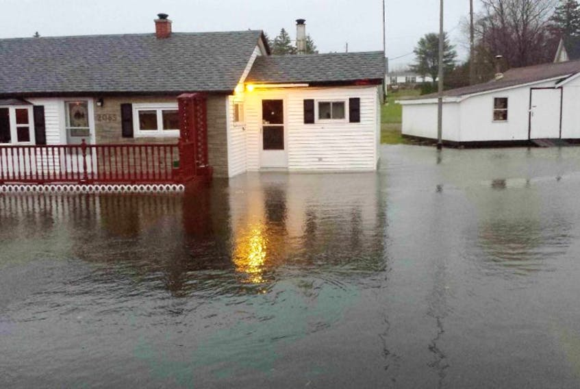 A Sandy Point home was surrounded by water after a rainstorm last month.