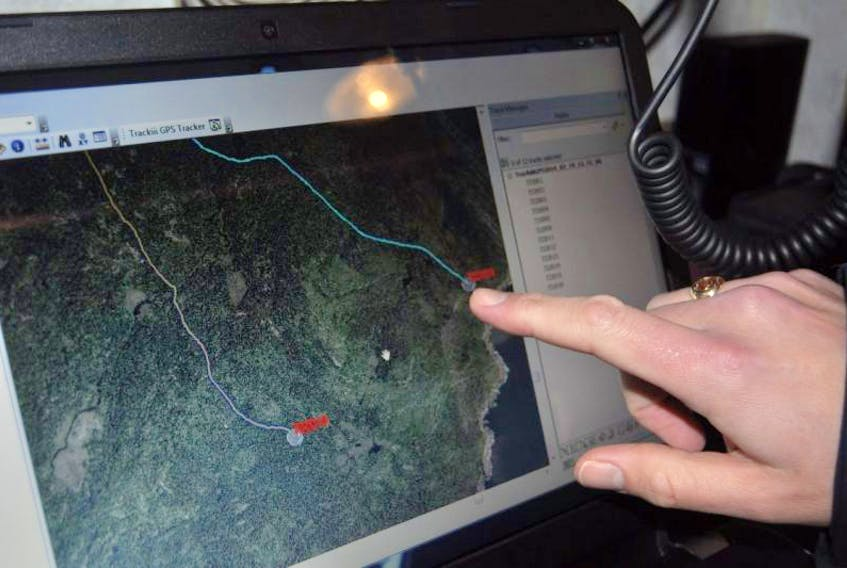 <p>On this screen you can see a line that marks where one of Exploits SAR volunteers walked. A new arsenal of GPS-equipped radios will allow the team to map routes of searchers as they are combing through the wilderness; enabling search organizers to see how much ground has been covered, and where, as the search is ongoing.</p>