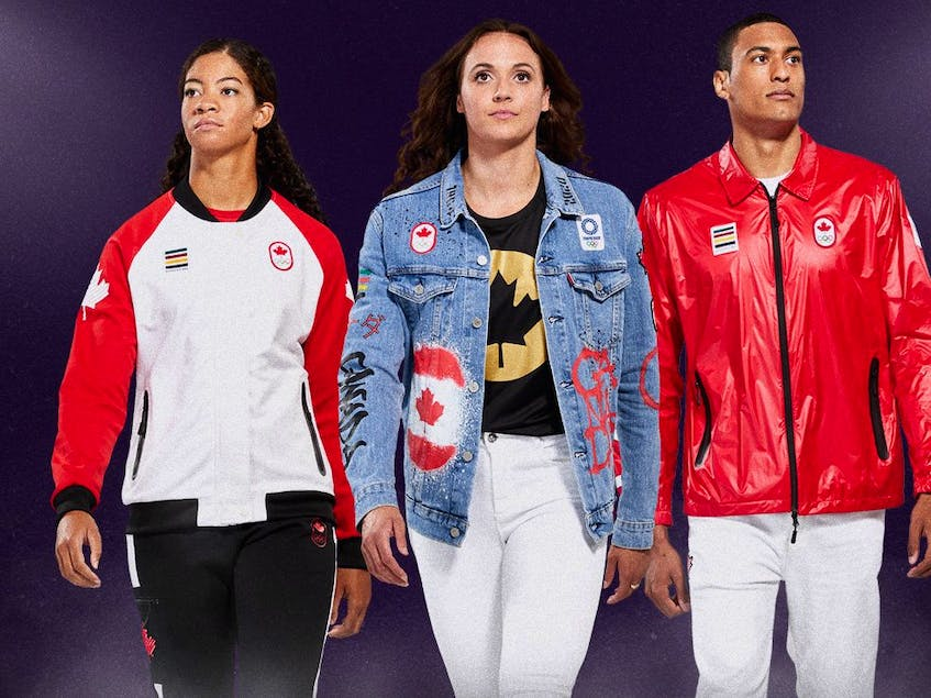 From left to right: Sarah Douglas (sailing) wearing a podium outfit, Kylie Masse (swimming) wearing a closing ceremony outfit, and Pierce Lepage (athletics) wearing opening ceremony outfit.  - Tream  Canada