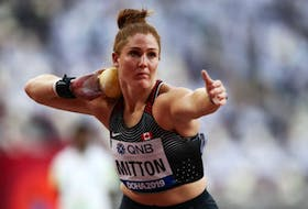 Sarah Mitton competes at the world athletics championships in Doha, Qatar, in 2019. Contributed