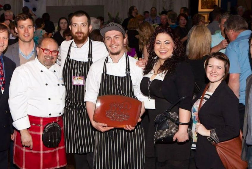 Judges join chef Mike Clarke at the 2015 edition of the Savour Food and Wine Show in Charlottetown.