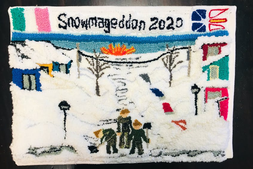 This is a second storm-themed mat (with added flags, etc) that Helen Smith-Thorne made after the tremendous response to her first mat. Contributed