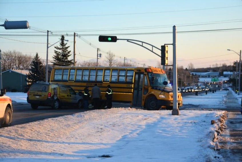 A crash involving school bus temporarily backed up trafic along Summerside's Water Street Thursday monring. Colin MacLean/Journal Pioneer