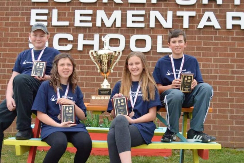 <p>&nbsp;</p> <p>&nbsp;</p> <p>Cole Cotter, Makayla Williams, Olivia Staines, Aiden Lloyd of Lockeport Elementary were the winners of the Regional Science Olympics.</p> <p>Contributed photo</p>
