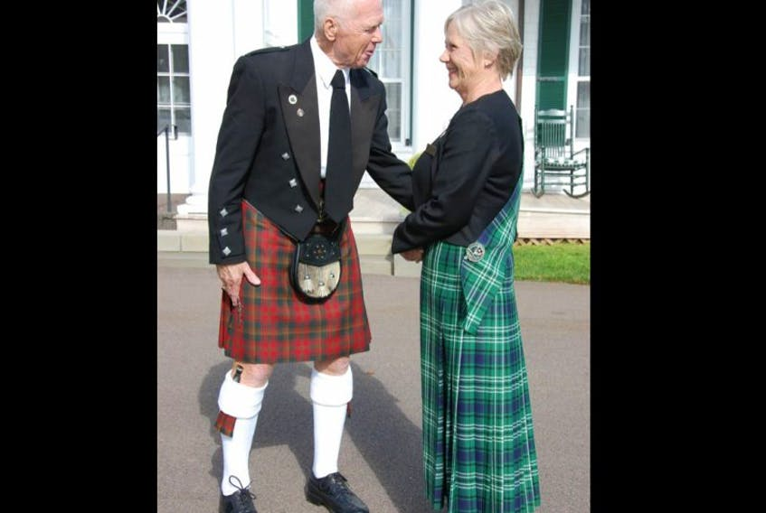 Two proud Prince Edward Islanders of Scottish heritage, Ewan Stewart and Eleanor Boswell, greet each other outside of Government House in Charlottetown. Boswell is president of the Caledonia Club of P.E.I., which has roots back to 1837 on P.E.I.
