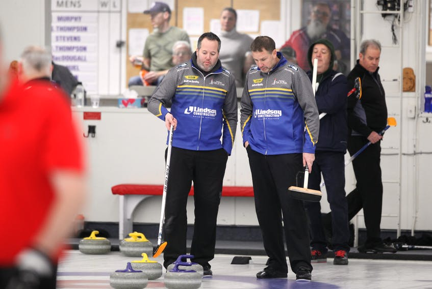 Skip Jamie Murphy, left, and third Paul Flemming talk strategy during   action at the 2020 Nova Scotia Men's Provincial Championships at the Dartmouth Curling Club on Jan. 20, 2020. ERIC WYNNE/Chronicle Herald