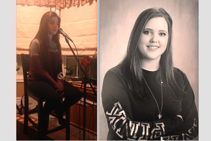 """Fourteen-year-old Allie Gardner (left) of Flower's Cove performed """"Love on the Brain"""" by Rihanna in her audition video for Sing NL. She made it into the top 20 in her category. Seventeen-year-old Mackenzie Genge (right) of Anchor Point made it to the top 20 in her category in Sing NL."""