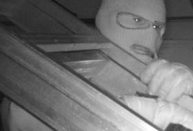 FILE PHOTO: A suspect in a string of break and enters known as the Screencutter case carries a ladder in this photo the RCMP released from a security camera.