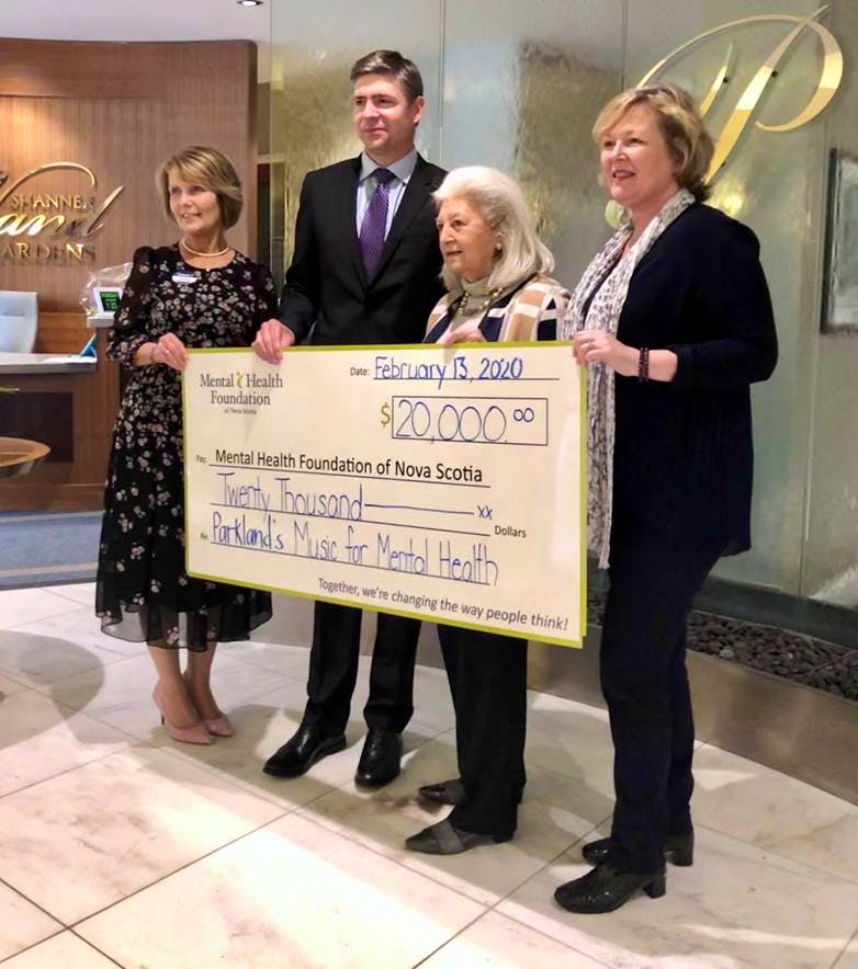 Maureen Banyard was able to make a significant donation to the Mental Health Foundation of Nova Scotia as a result of her Music for Mental Health fundraiser. The event raised $10,000 and Shannex matched that amount, making the total donation $20,000.