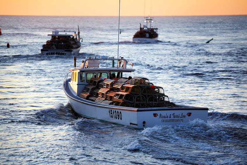 Lobster fishing boats leave North Rustico harbour early Friday morning, opening the spring lobster season on the North Shore.