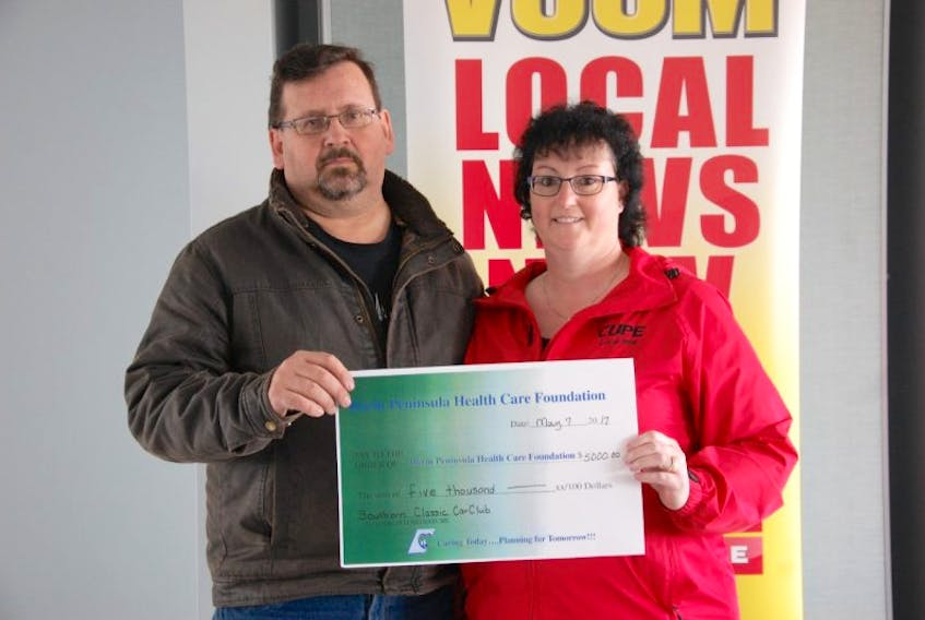 Alvin and Stacey Mallay pledged $5,000 on behalf of the Southern Classic Car Club to the Kin and Friends Radiothon held May 7 at the Municipal Centre in Marystown.