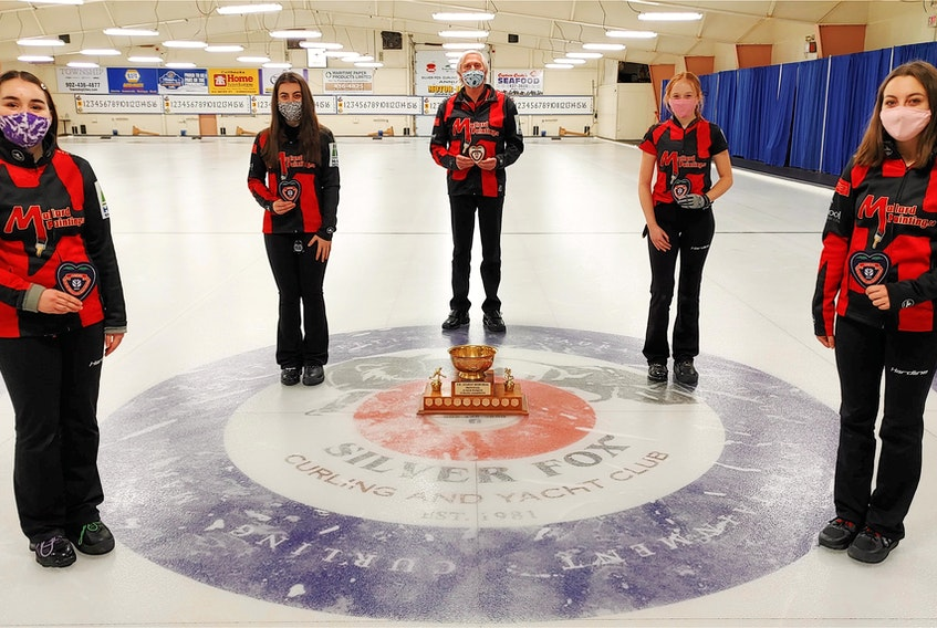 The Katie Shaw rink from the Cornwall Curling Club won the 2021 Pepsi P.E.I. junior women's curling championship at the Silver Fox in Summerside on Sunday. Members of the winning rink are, from left, Shaw, third Lexie Murray, coach David Murphy, second Alexis Burris and lead Isabella Tatlock.