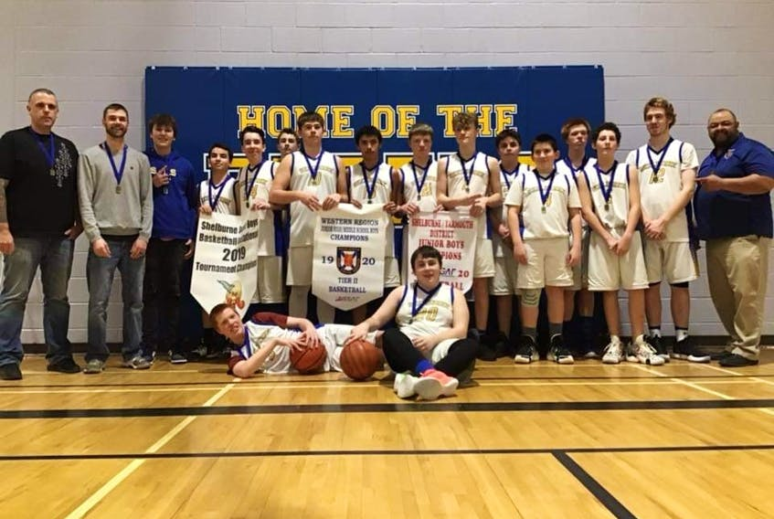 The Shelburne Rebels topped off a very successful season by winning the Tier 2 NSSAF Western region junior boys basketball championship at home on Feb. 24. Standing, from left, coach Mike Shand, coach Corey Williams, Maddox Graham, Jaden Peters, Jonah Demings, Camden Williams, Chase Matthews, Chance Hartley, Shane Crowell, Chance Goodick, Dakota Albert, Jeremy Quinlan, Ethan Stewart, Leland Hammond, Josh Hopkins and coach Darren Jacklin. In front are Eric Stewart and Shaemus Morrison. Contributed