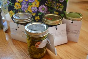 Some of the preserves Sheila Elliott is entering in the Port Morien Fair, Saturday. <br /><br />