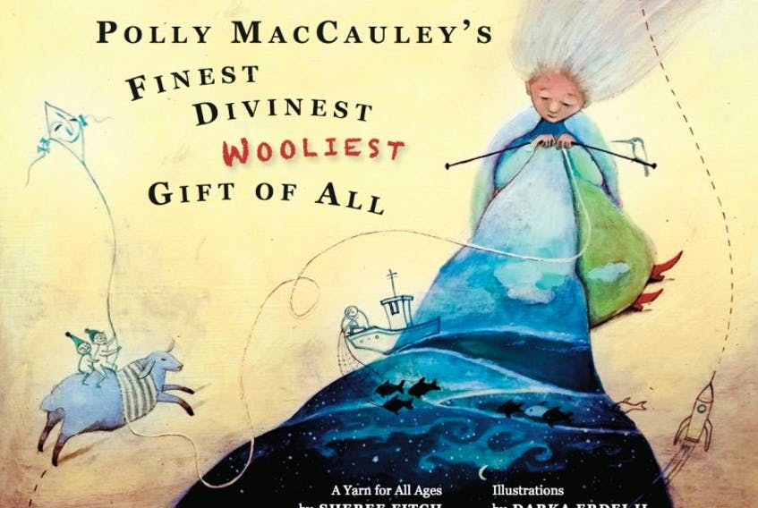 Polly MacCauley's Finest, Divinest, Wooliest Gift of All weaves a tale of a special lamb, a woman meant to create with the lamb's wool and the spirit of River John. The book is illustrated by Darka Erdelji and will be published by Running The Goat Books and Broadsides in June.