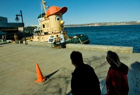 Theodore Tugboat in its once-familiar docking spot on the Halifax waterfront. The whimsical vessel based on a children's TV show character is for sale.