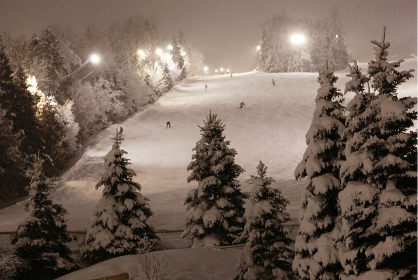 """Night skiing at Mont Saint Sauveur. """"It's great news that Quebecers will be able to ski this winter, but we'll have to adapt like everyone else,"""" said Christian Dufour, the director of marketing for Les Sommets, a collection of six Laurentian ski areas that includes Mont Saint-Sauveur, Mont Gabriel and Ski Morin Heights."""