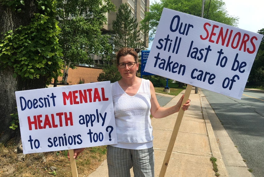 Stefanie Stanislow, standing outside of Camp Hill Veterans' Memorial Hospital on Aug. 4, 2020, says seniors in long-term care facilities are being left behind as Nova Scotia continues to ease its restrictions.