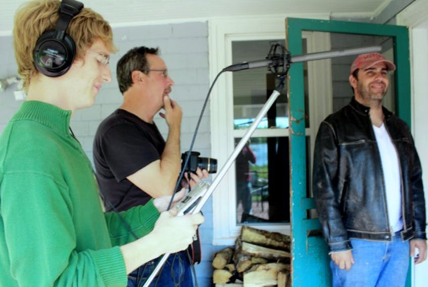 <p>: Ed Trevors (right) plays music producer Nathan Williams in the 90 second teaser for Scratch Tracks, a new sitcom concept born and set in Shelburne County. Alex Buchanan (left) and Rob Stork are two of three team members working on the concept. A rally in support of a bid to win half a million dollars toward production of a pilot for CBC will be held at the Osprey on Thursday, October 9, starting 7:30.</p>