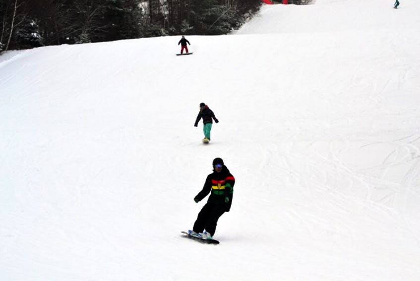 A long line of skiers made their way down the Red Tail run at Ski Ben Eoin in this Cape Breton Post file photo.