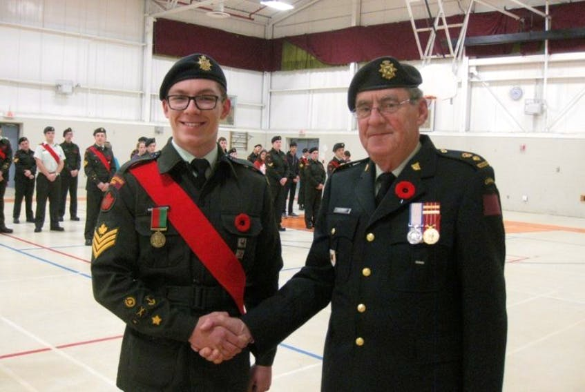 <p>Cadet Sergeant Skyler Richardson of 2444 Kings County Army Cadets received a national award on Nov. 4 from retired Colonel Eric Meisner representing the West Nova Scotia Regiment.</p>