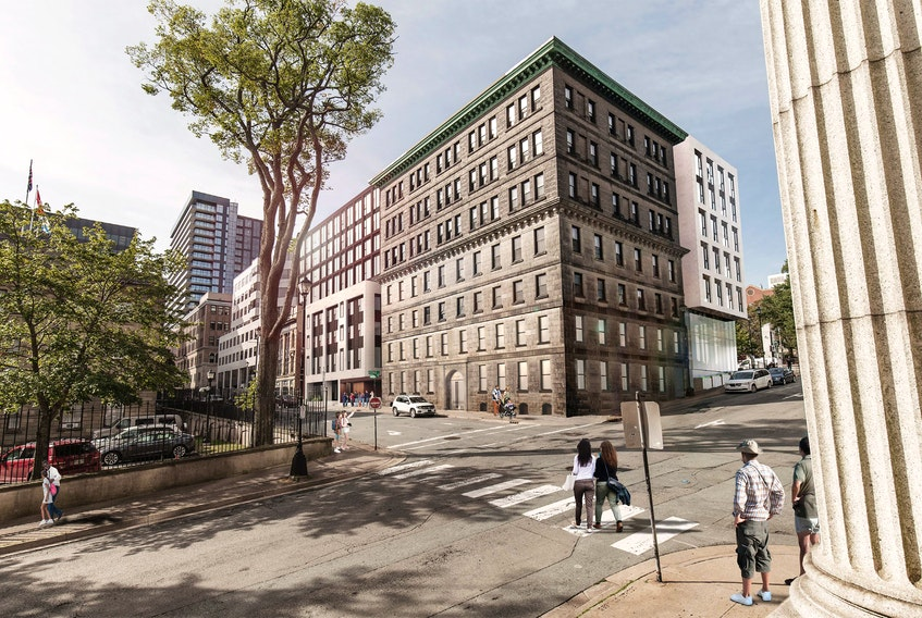 A rendering of Dexel Developments' proposal for the Acadian Recorder and Kenny-Dennis buildings, as seen from the corner of George and Granville streets.
