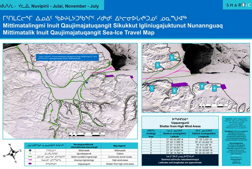 This sea ice travel map made in 2019 for Pond Inlet in Nunavut is an example of the maps SmartICE will create for all of the areas it operates in, including Labrador. - Courtesy of the Sikumiut Management Committee