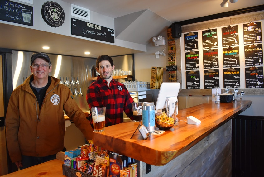Father-son duo Mike and Andy Peters are encouraged by the support their family's new Smokehouse Nano Brewery in Berwick is receiving so far. – Ashley Thompson