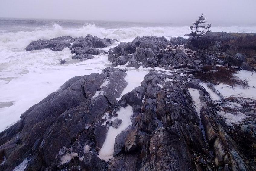 Waves crashing near Rissers Beach, Nova Scotia-  Charles Weiss.