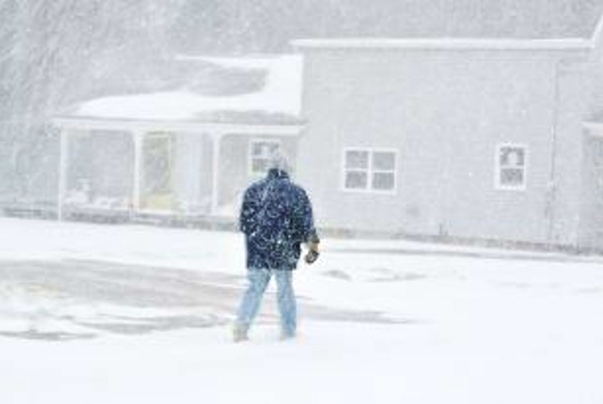 """[""""<p>An Amherst man makes his way down LaPlanche Street during Tuesday's snowstorm that dumped 29 cm of snow on the town. Another dump of snow is forecast for late Friday and early Saturday.</p>""""]"""