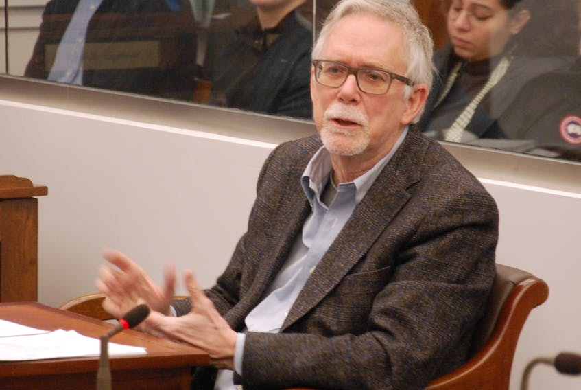Willett Kempton, a professor at the University of Delaware, made a presentation Thursday on vehicle-to-grid technology and electric vehicle integration to P.E.I.'s special committee on climate change. Jim Day/The Guardian