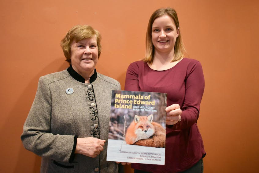 Rosemary Curley, from left, and Kimberly Riehl at their book launch held at the Eptek Centre in Summerside, Sunday afternoon.