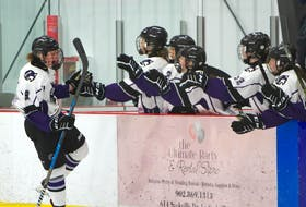Kameryn Lahey of the Cape Breton Lynx celebrates a goal with her teammates during Maritime Major Female Under-18 Hockey League playoff action against the Station Six Fire at BMO Centre in Bedford on Saturday. Cape Breton took game one of the best-of-five series 4-3. The team is heading home for Game 3 with the series tied 1-1. Contributed • James Pomeroy