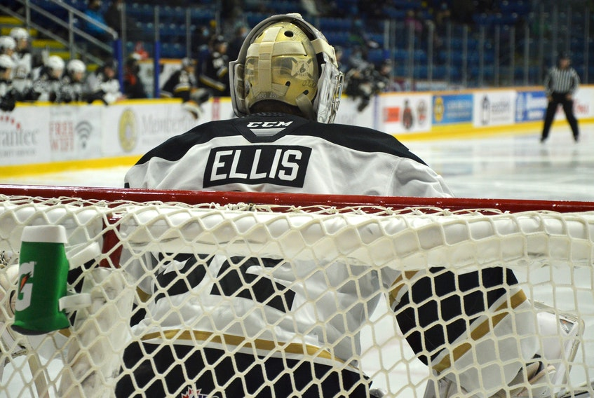 River Denys' Colten Ellis is one shutout away from tying the Quebec Major Junior Hockey League record for shutouts in a career. He currently has 16 shutouts entering today's game against the Cape Breton Eagles in Sydney. JEREMY FRASER • CAPE BRETON POST