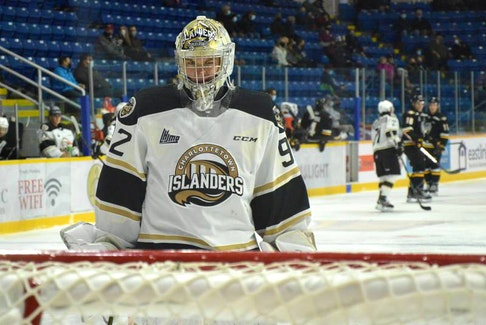 River Denys' Colten Ellis set a QMJHL record for most shutouts (18) in a career when the Charlottetown Islanders defeated the Cape Breton Eagles 4-0 at Centre 200 in Sydney last Sunday. JEREMY FRASER • CAPE BRETON POST