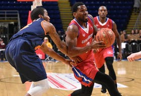 In this January 2019 file photo, Justin Taylor of the Cape Breton Highlanders, right, drives the lane as Tyler Scott of the Island Storm defends during National Basketball League of Canada action at Centre 200 in Sydney. The league plans to have a 2020-21 season, beginning in late December, however, details have not been announced. JEREMY FRASER • CAPE BRETON POST