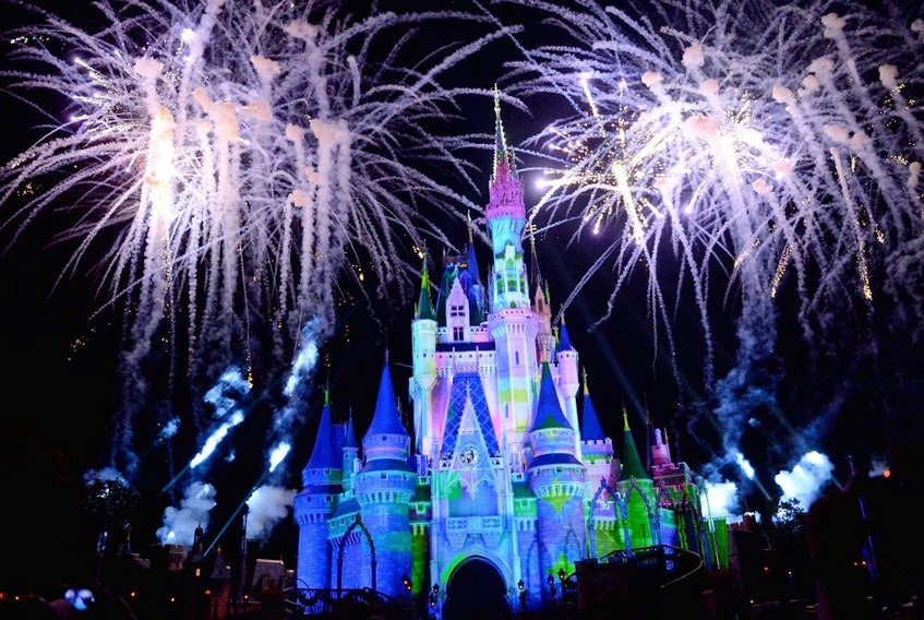 Cinderella's castle at Walt Disney World in Orlando, Fla., is surrounded by fireworks.