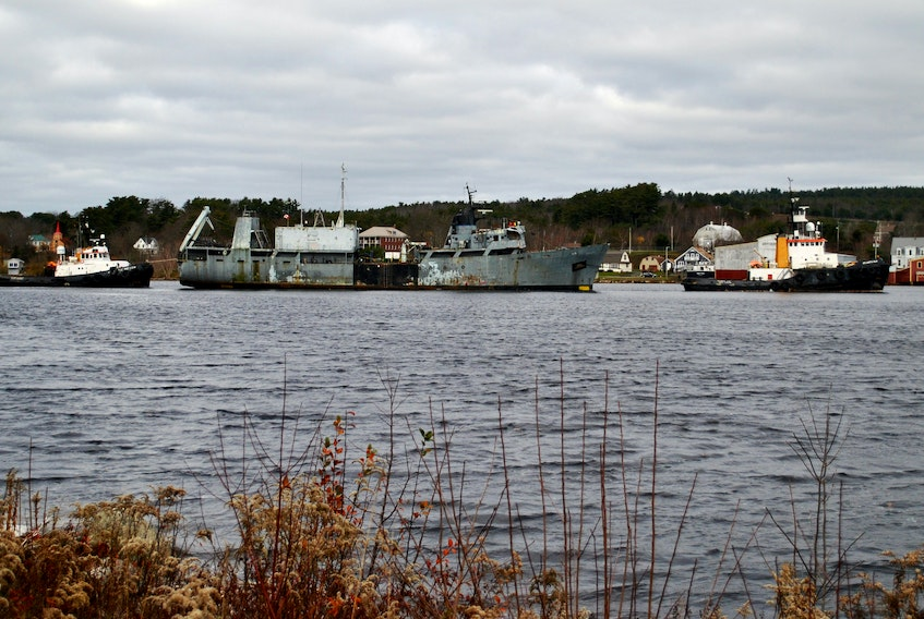 The former HMCS Cormorant made it final voyage down the LaHave River on Nov. 18 with the help of several tugboats.