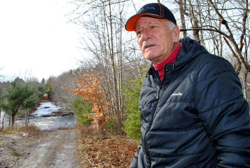 David Whynott talks on-site about the new trail bridge that will cross the LaHave River in New Germany, restoring the missing link on the South Shore Annapolis Valley Trail.