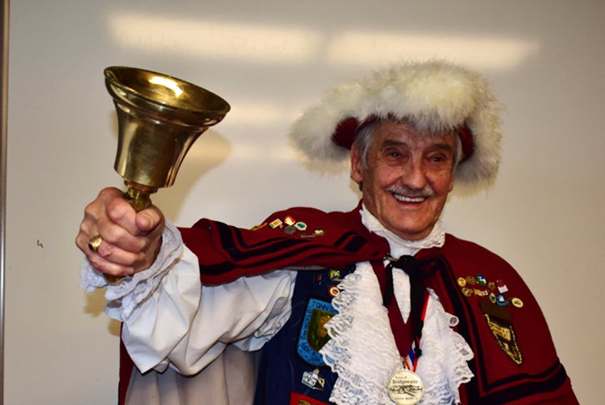 Austin 'Ozzie' Stiles dons his town crier's uniform for a final time, marking 40 years of service to the Town of Bridgewater.