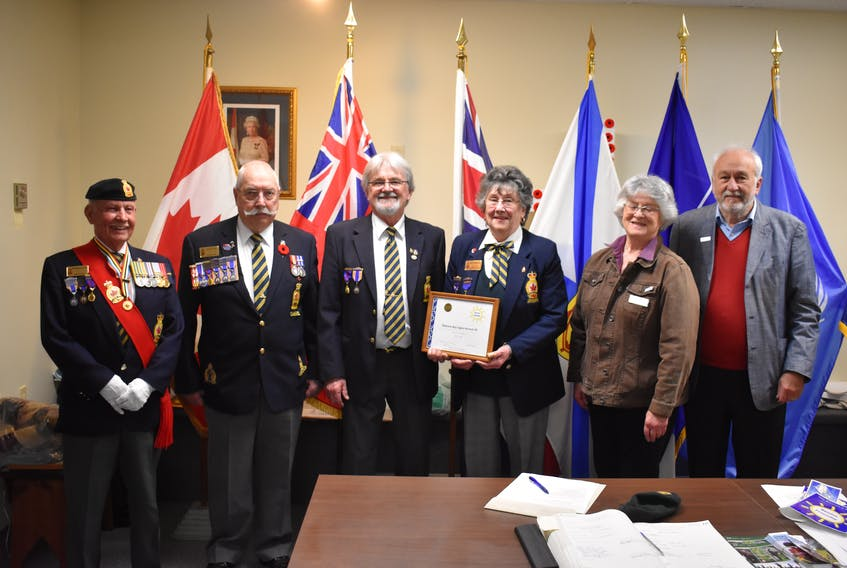 From left to right: Zone 13 Sergeant-at-arms Bob Henderson, Commander Darryl Cook, Royal Canadian Legion Branch 49 member Lloyd Westhaver, Branch president Helen Whitehouse, Mahone Bay councillor Penny Carver and Mayor Dave Devenne pose with their accessibility certification from the Nova Scotia Community Links Aging Well Together Program.
