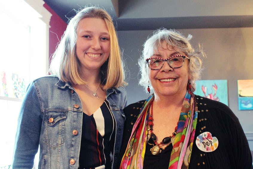Katie Robinson, a Liverpool Regional High School student, has been taking art lessons from Deb Sponagle-Taylor, right, for about four years.