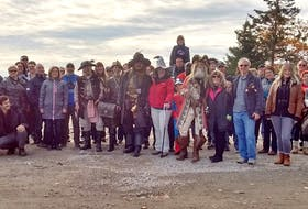 """Oak Island Tours run from April 26 to Nov. 1, and tour guide Lisa Moore, centre with red jacket, says one of the highlights of the tour season is the Halloween tour. """"This year is the third annual Halloween tour. We have pirates and costumes. It's a lot of fun for everyone,"""" Moore said. CONTRIBUTED"""