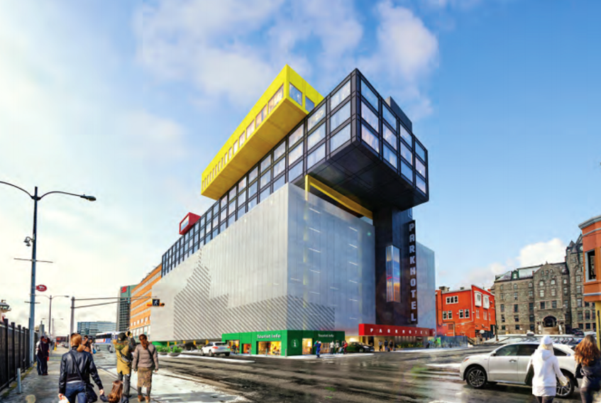 An architectural rendering of the proposed Parkhotel; a parking garage and hotel with some ground-level retail/tourism space. Computer screenshot