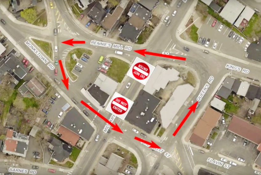 The unsignalized traffic configuration at Rawlins Cross has been a controversial pilot project since it began in Sept. 2018. -TELEGRAM FILE PHOTO