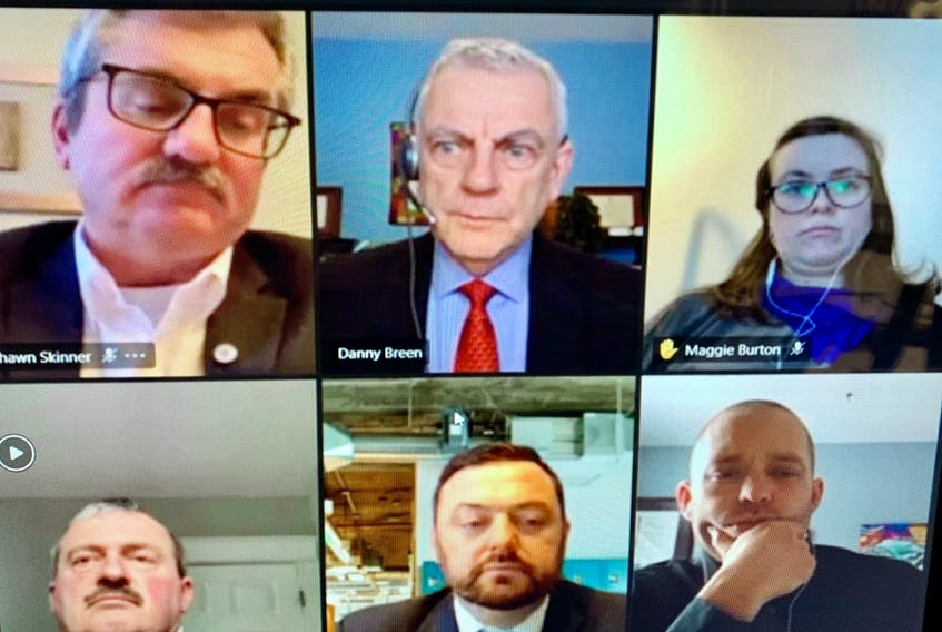 St. John's city council weekly meeting was held virtually Tuesday night as a result of recent COVID-19 concerns in the region. Those taking part included, from left, top, Ward 2 Coun. Shawn Skinner, Mayor Danny Breen, Councillor-at-Large Maggie Burton; bottom Councillor-at-Large Sandy Hickman, Ward 3 Coun. Jamie Korab and Ward 4 Coun. Ian Froude. — ROSIE MULLALEY/The Telegram