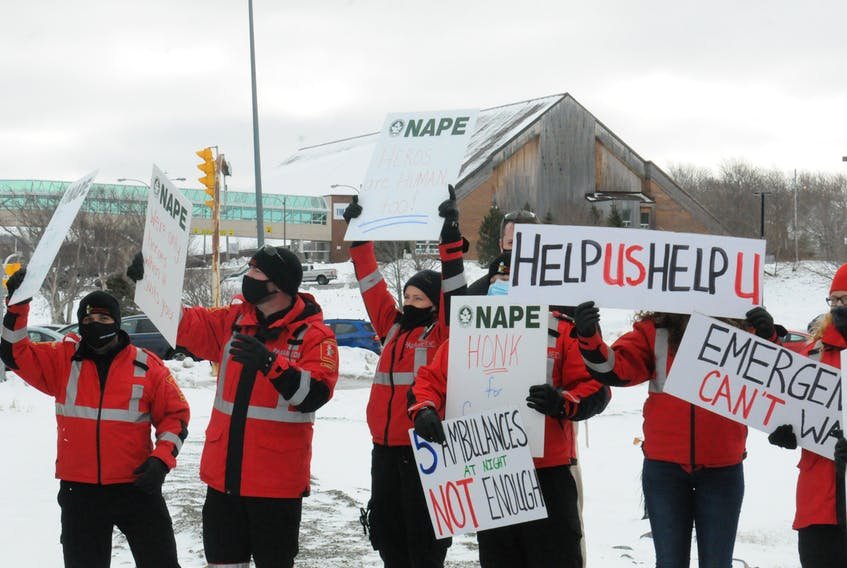 Eastern Health paramedics and members of the Newfoundland and Labrador Association of Public and Private Employees (NAPE) held a noon-hour rally Friday outside the Health Sciences Centre to voice their concern about a shortage of paramedics and a need for more staffed ambulances. Joe Gibbons • The Telegram