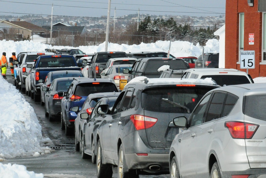 There was plenty of traffic and long lineups and delays at the Eastern Health temporary COVID-19 testing site at Mount Pearl Senior High School on Ruth Avenue in Mount Pearl on Wednesday morning. Joe Gibbons • The Telegram